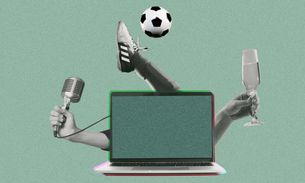 Microphone, soccer ball and wine coming out of a laptop